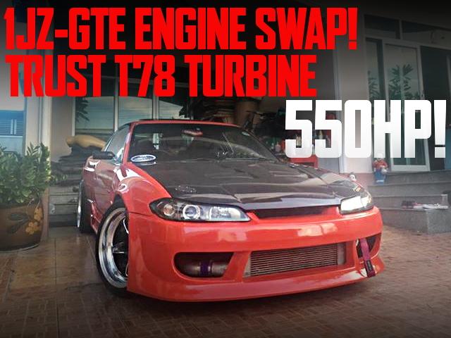 550馬力!1JZエンジンT78タービンVプロ制御!S15フェイス!S13日産200SXのタイ中古車を掲載