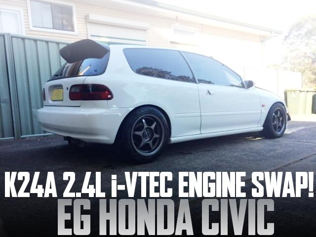 K24A型i-VTECエンジンスワップHONDATA制御!EG3型ホンダ・シビックのオーストラリア中古車を掲載