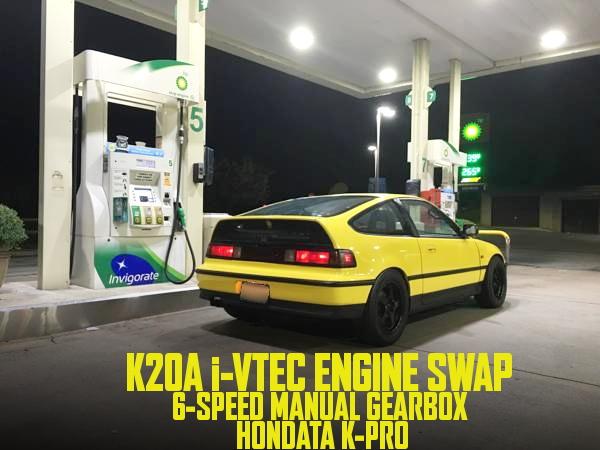 K20A型i-VTECエンジンスワップ6速MT仕上げ!HONDATA制御!2代目EF系ホンダCR-Xのアメリカ中古車を掲載