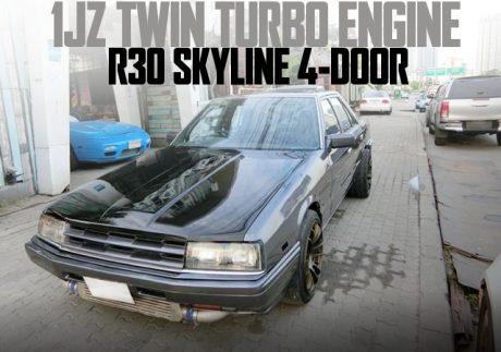 1JZ-GTEツインターボエンジンスワップ!ホイール5穴化!R30日産スカイライン4ドアのタイ中古車を掲載