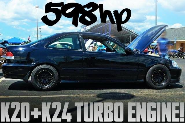 598馬力!K24エンジン改6262タービンHONDATA製K-PRO制御!2代目シビッククーぺのアメリカ中古車を掲載
