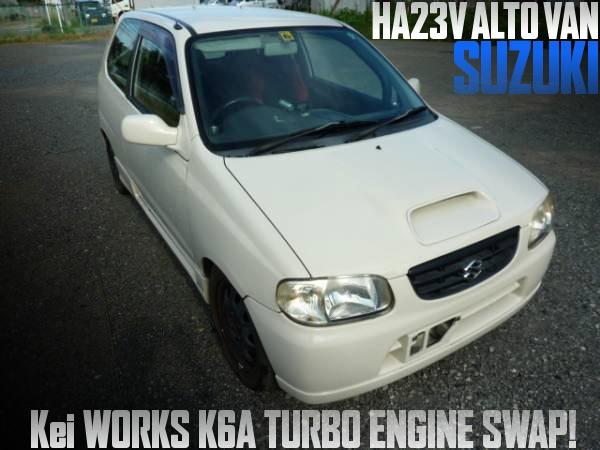 Keiワークス流用K6Aターボエンジン5速MT移植!eマネージ制御!HA23V型アルトバンの国内中古車を掲載
