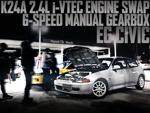 K24A型2.4リッターiVTECエンジン移植!6速MT組み合わせ!HONDATA制御!EG型シビックのオーストラリア中古車を掲載