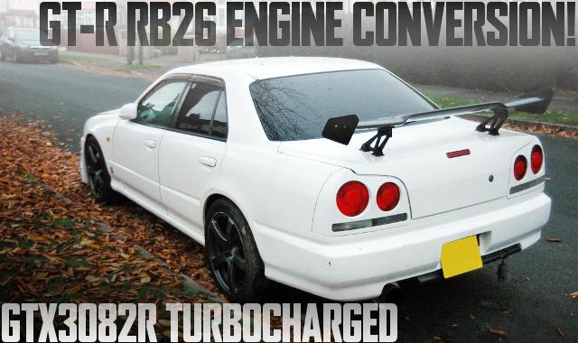495馬力!GT-R流用RB26エンジン改GTX3082Rビッグタービン!リンクG4フルコン制御!日産R34スカイライン4ドアのイギリス中古車を掲載