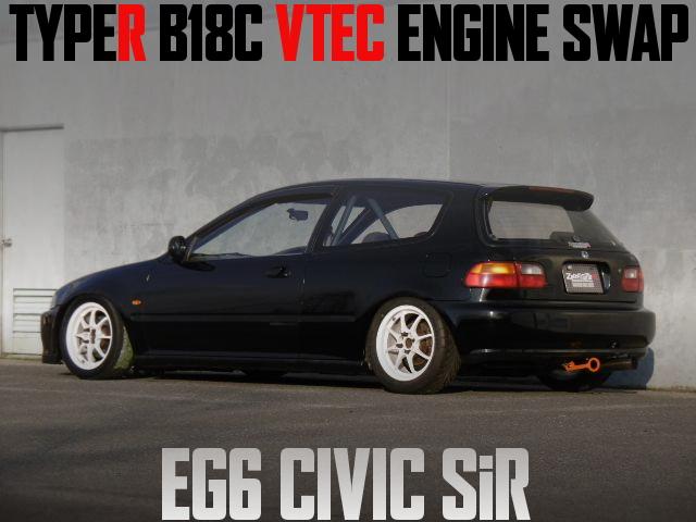 タイプR流用B18C型VTECエンジンスワップ!クロスMT!ダッシュ貫通ロールバー!EG6型シビックSiR2の国内中古車を掲載