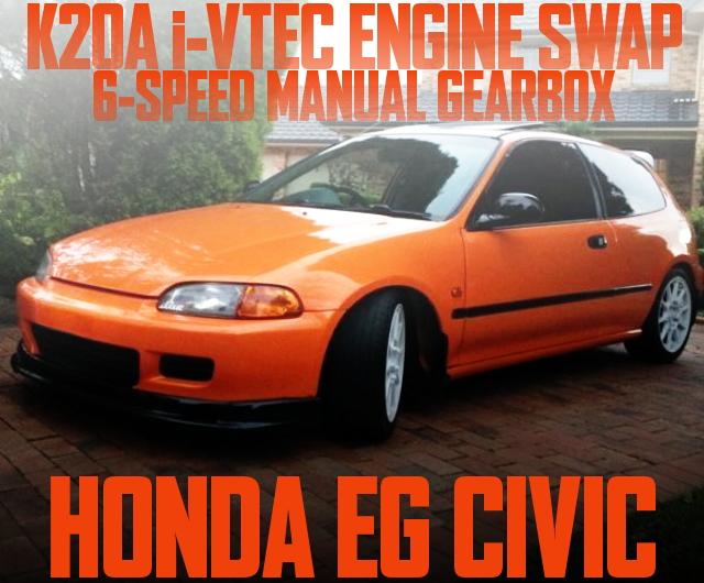 K20A型i-VTECエンジンスワップ!タイプR用6速MT+LSD!EG型ホンダ・シビックのオーストラリア中古車を掲載