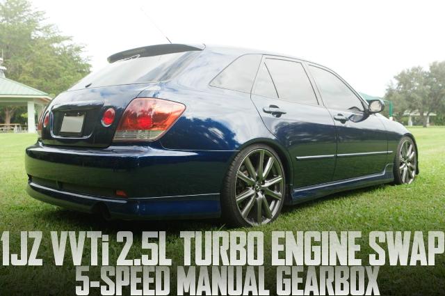1JZ-GTE型VVTiターボエンジンスワップ!W58型5速MT仕上げ!SXE10型レクサスIS300ワゴンのアメリカ中古車を掲載