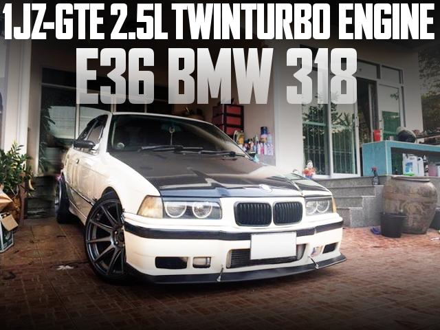 トヨタ車用1JZツインターボエンジン!ATシフト仕上げ!E36型BMW 318のタイ中古車を掲載