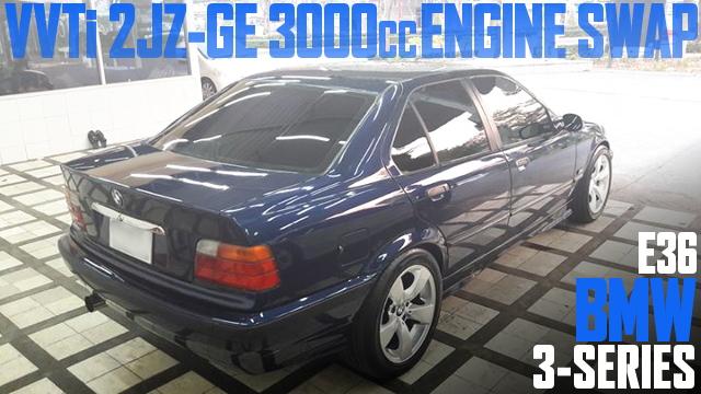 トヨタ車用VVTi仕様2JZ-GE型3000ccエンジンスワップATシフト仕上げ!E36型BMW3シリーズ(4ドア)のタイ中古車を掲載