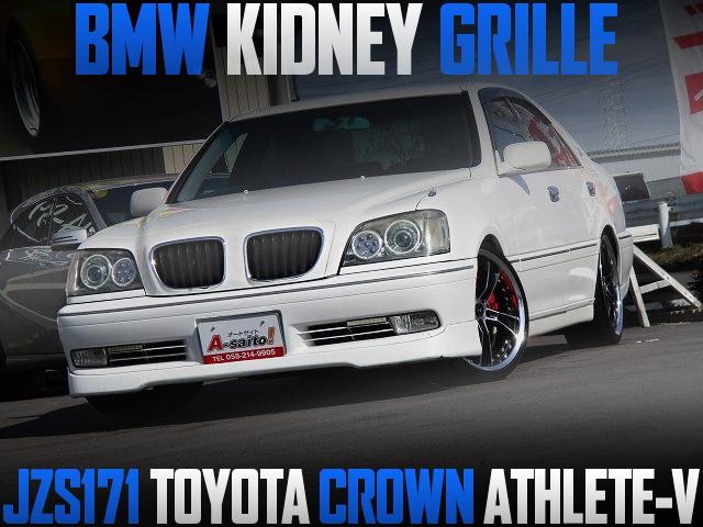 BMWキドニーグリル仕上げ!5速マニュアル公認!JZS171型トヨタ・クラウン・アスリートVの国内中古車を掲載
