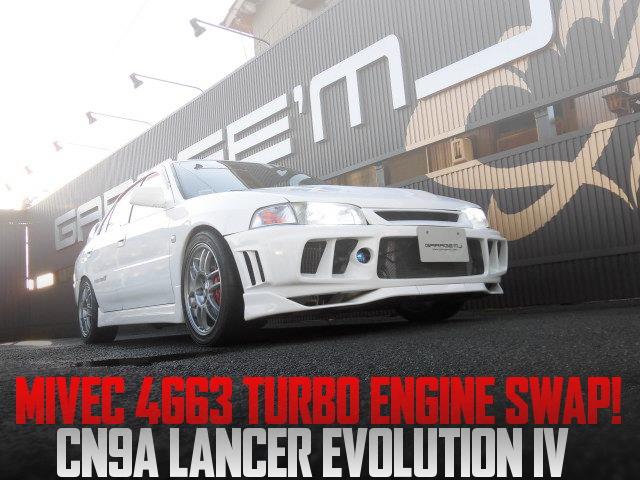 EVO9用MIVECモデル4G63エンジンスワップ!CN9A三菱ランサーエボリューションIVの国内中古車を掲載