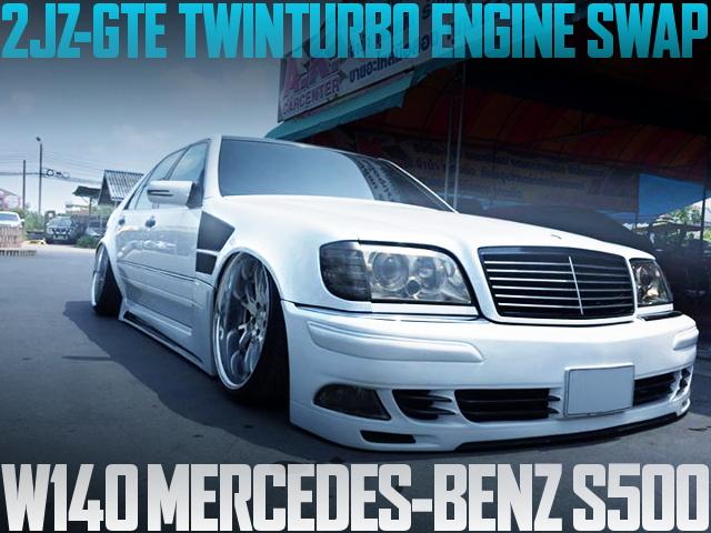 2JZ-GTEツインターボエンジンスワップATシフト!VIPカスタム!3代目W140メルセデスベンツS500のタイ中古車を掲載