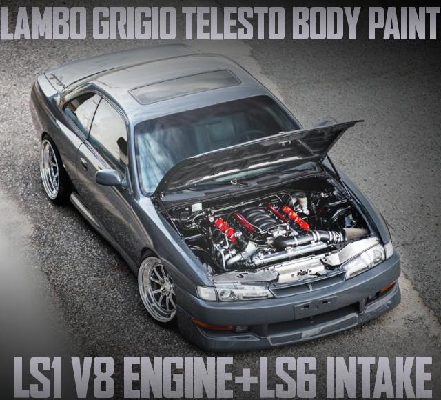 LAMBOグリジオテレストペイント!LS1型V8エンジン+6速MT移植!S14日産240SXのアメリカ中古車を掲載