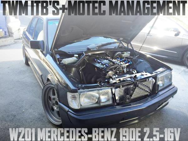 TWM製4連スロットルMOTECフルコン制御!ワンオフワイドボディ!W201型メルセデス・ベンツ190E 2.5-16Vの国内中古車を掲載
