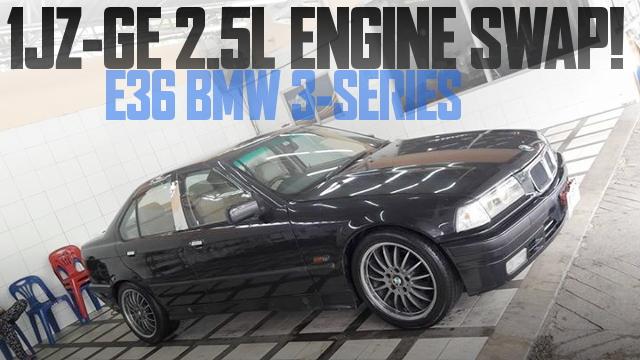 NAモデル1JZ-GE型2.5Lエンジン+ATフロアシフト仕上げ!E36型BMW3シリーズ(4ドア)のタイ中古車を掲載