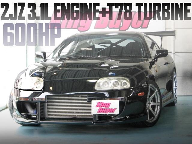 600馬力!2JZ-GTE改3.1LエンジンT78タービンVプロ制御!JZA80型スープラRZの国内中古車を掲載