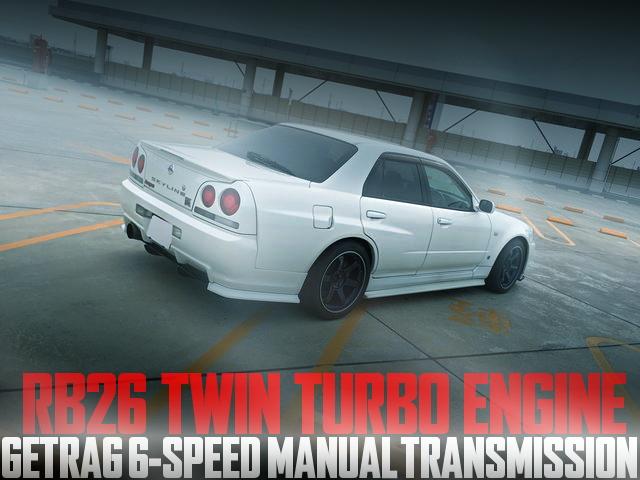 GT-Rフル移植!RB26エンジン+ゲトラグ6速MT仕上げ!GTRマスク+ワイドボディ!R34日産スカイライン4ドアの国内中古車を掲載