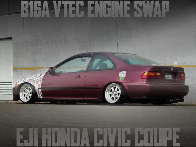 B16A型VTECエンジン5速MT公認!ステッカーボム!ホンダEJ1型シビッククーペの国内中古車を掲載