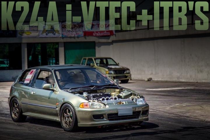 K24A型2.4リッターi-VTECエンジン+独立スロットル!NURミレニアムジェイドカラー!EG型ホンダ・シビックのタイ中古車を掲載