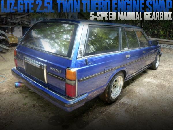 JZX81流用1JZ-GTE型2.5Lツインターボエンジン移植!5速マニュアル組み合わせ!トヨタGX70型マーク2ワゴンの国内中古車を掲載