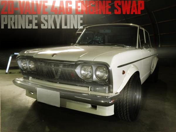 20バルブ4AGエンジンスワップ+5速MT公認!2代目プリンス・スカイライン4ドアの国内中古車を掲載