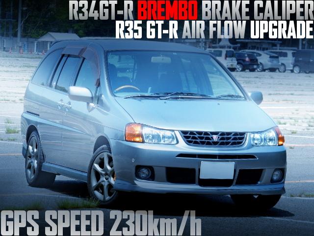 GPS車速230km/h!現車セッティング!R34GTRブレンボ!R35エアフロ!S15ターボインジェクター!M12日産プレーリーリバティGT4の国内車両物件を掲載