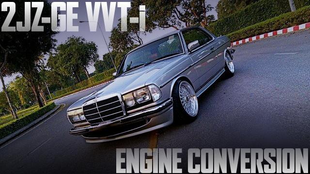 2JZ-GE型VVTiエンジンスワップ+ATシフト仕上げ!W123型メルセデス・ベンツ230CEのタイ中古車を掲載