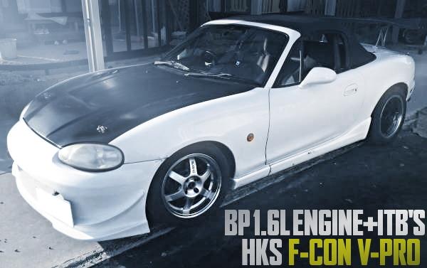 AE101流用!BP-ZE改4連スロットルエンジン+Vプロ制御!マツダNB8C型ロードスターの国内中古車を掲載