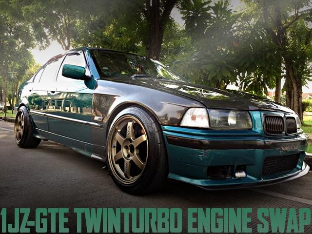 1JZツインターボエンジン+オートマチックシフト!R33スカイラインブレーキ移植!E36型BMW318iのタイ中古車を掲載