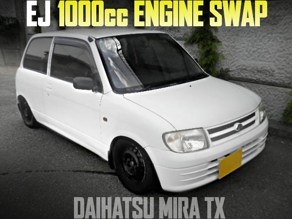 EJ型1000ccエンジンスワップ+5速マニュアル!ストレートマフラー!L700Sダイハツ・ミラTXの国内中古車を掲載