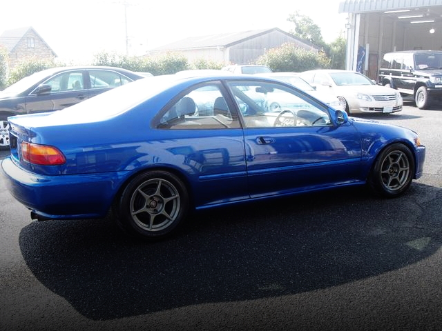 REAR SIDE EXTERIOR EJ1 CIVIC COUPE BLUE METALLIC