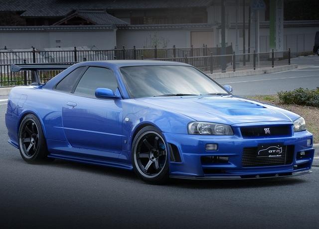 FRONT EXTERIOR BAYSIDE-BLUE R34 SKYLINE GT-R