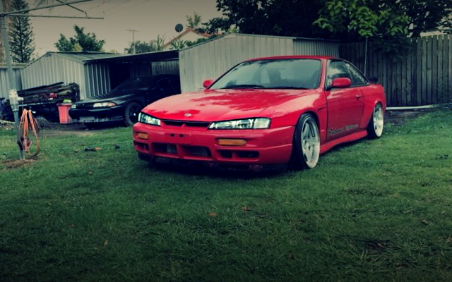 FRONT EXTERIOR OF S14 SILVIA RED COLORING