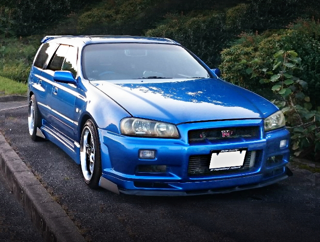 FRONT EXTERIOR R34GTR FACE WC34 STAGEA BAYSIDE BLUE