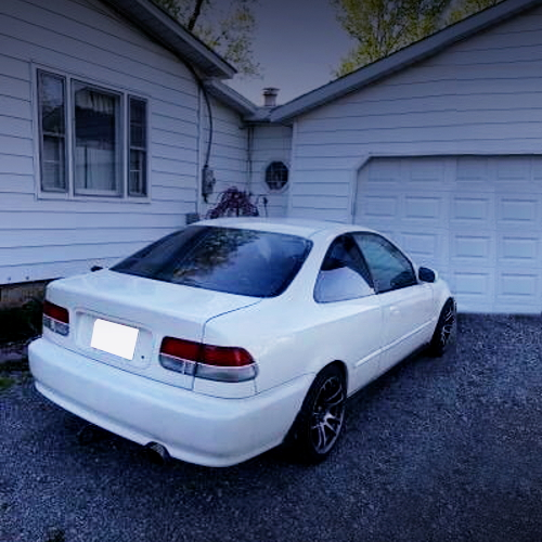 REAR EXTERIOR EJ8 CIVIC COUPE WHITE
