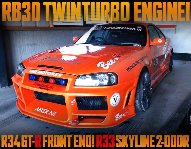 R34GTR FRONT END R33 SKYLINE 2-DOOR ORANGE