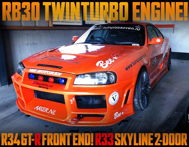 R34GTR FRONT END R33 SKYLINE 2-DOOR ORANGE