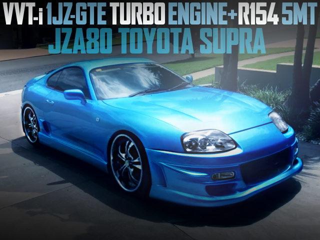 1JZ TURBO ENGINE SWAP JZA80 SUPRA LIGHT BLUE