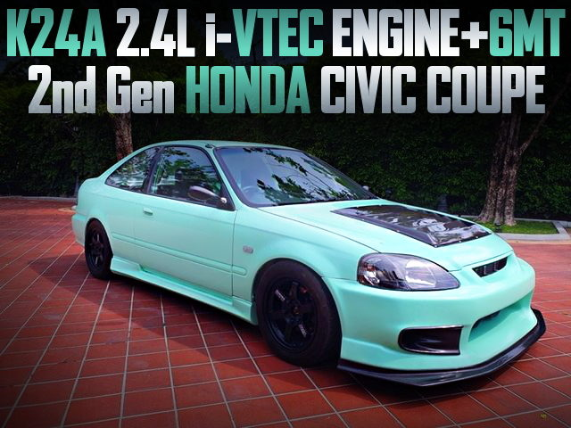 K24A iVTEC ENGINE AND 6MT INTO 2nd Gen CIVIC COUPE