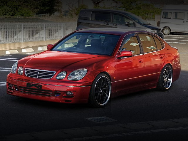 FRONT EXTERIOR OF JZS161 ARISTO RED