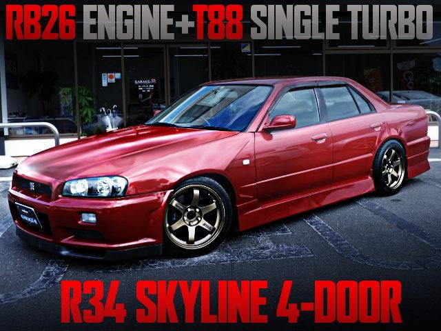 RB26 T88 SINGLE TURBO ENGINE INTO R34 SKYLINE 4-DOOR