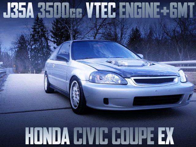 J35A 3500cc V6 VTEC ENGINE SWAPPED EJ8 CIVIC COUPE EX