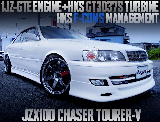 HKS GT3037S TURBOCHARGED JZX100 CHASER TOURER-V WHITE