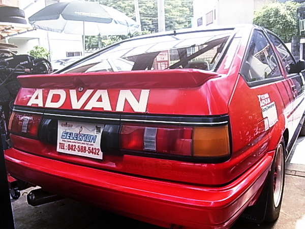 REAR TAIL LIGHT AND ADVAN LOGO OF AE86 LEVIN GT-APEX