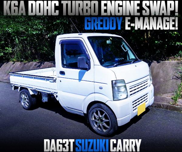 K6A DOHC TURBO ENGINE With E-MANAGE OF DA63T SUZUKI CARRY