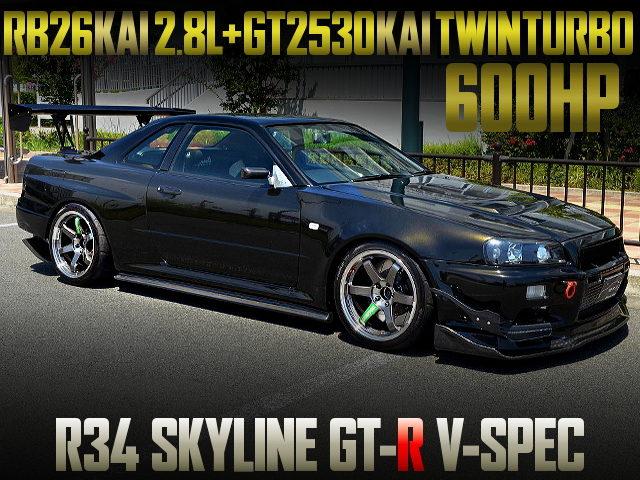 RB26 2800cc GT2530 TWINTURBO INTO R34 GT-R V-SPEC OF 600HP