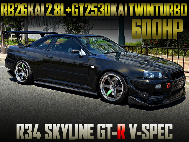RB26 2800cc GT2530 TWINTURBO INTO R34 GT-R V-SPEC OF 600HP