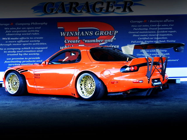 REAR EXTERIOR FD3S RX-7 OF ROCKET BUNNY WIDEBODY AND AP ORANGE