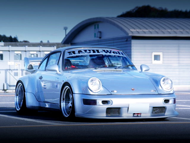 FRONT EXTERIOR OF RWB WIDEBODY WITH TYPE-930 PORSCHE 911 SC WITH SILVER