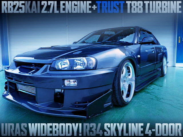 RB25 2700cc T88 SINGLE TURBO INTO R34 SKYLINE 4-DOOR With URAS WIDEBODY